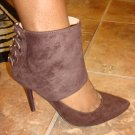 Hot  Brown Suede Pump Bootie  7 1/2