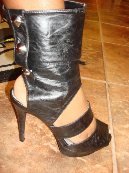 Hot Black Open Toe Bootie size 6