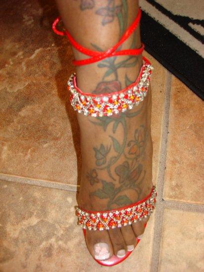 Hot Red Rhinestone Sandal size  8 1/2