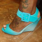 Cute Aqua Blue Wedge Heel  6 1/2