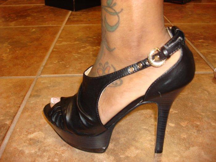 Open Toe Blk platform Heel Size  7