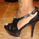Open Toe Blk platform Heel Size  7 1/2