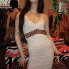 Sexy Cream and Gold Bandage Mini Dress Size Large 10-12