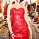 Sexy  Faux Leather Red Mini Dress Size Small 2-4