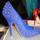 Ladies Designer Look Studded Pump Blue 8 1/2