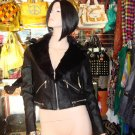 Black Faux Leather Motorcycle Jacket with Fur Trim Size Small 2-4