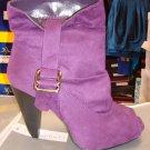 Purple Suede Open Toe Bootie 8