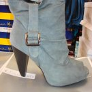 Gray Suede Open Toe Bootie 9