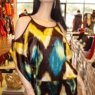 Teal Multi Kimono Sleeve Top L