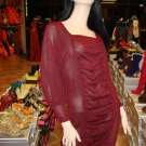 New Burgundy Lurex Knitted Dress Large 10-12