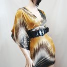 Brown Multi Kimono Sleeve Dress size Small
