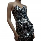Stylish Black and Silver Tube Dress Large