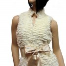Cream Faux Fur Vest Small