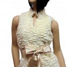 Cream Faux Fur Vest Medium