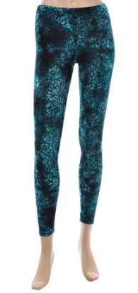 Teal Velvet Print Leggings Small