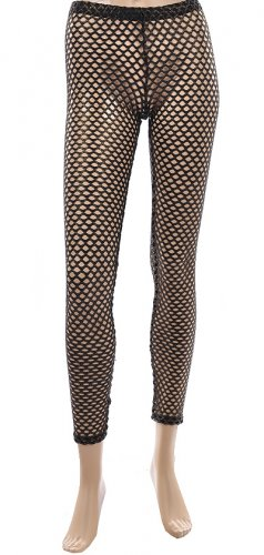 Black and Gold Fishnet Leggings Medium