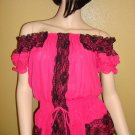 Hot Pink and Black Lace Off the shoulder top Size Medium
