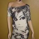 Black and White Face Print Mini Dress Size  Large