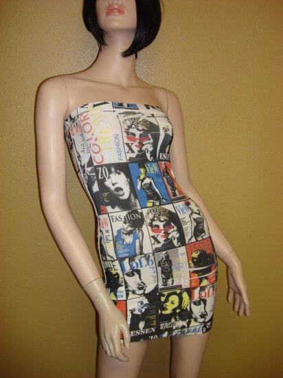 Cartoon Multi Print Tube dress Size  Large