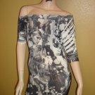 Sexy Black  and White Face Print Mini Dress  Medium