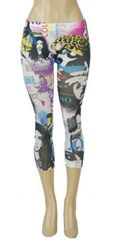 White Multi Print Leggings  Large