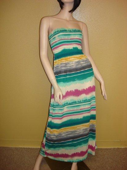 Green Multi Stripe Maxi Dress Size Small