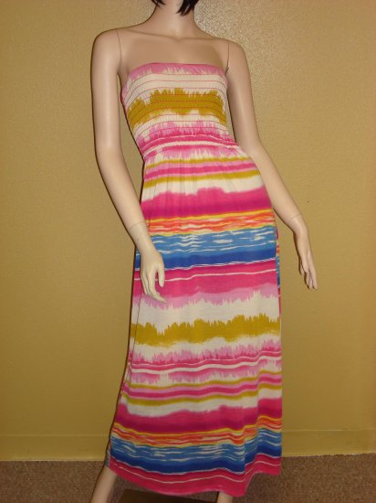 Pink Multi Stripe Maxi Dress Size  Medium