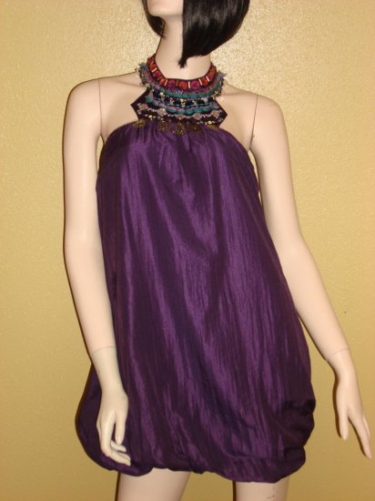 Beaded Purple Bubble Dress Large