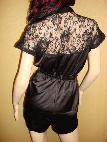 Black Satin and Lace Jumpsuit  Medium