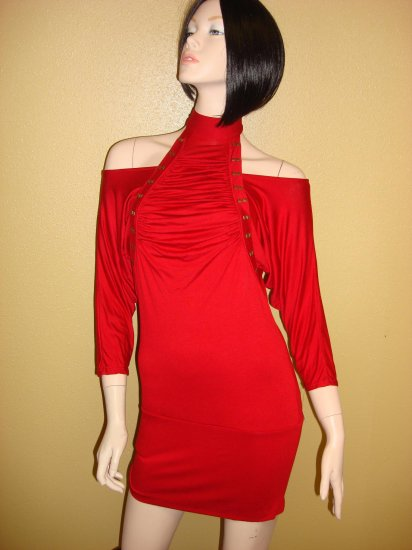 Sexy Red Open Shoulder Clubbing Dress Small