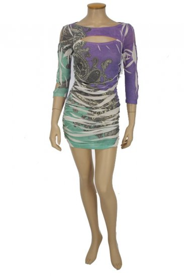 Green and Purple Multi Dress Medium