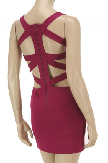 Magenta Strappy Back Bandage Dress Large