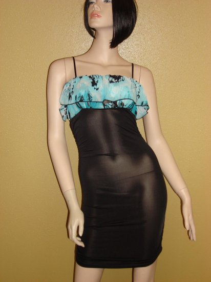 Black and Aqua Ruffle trim dress Size  Large 10-12