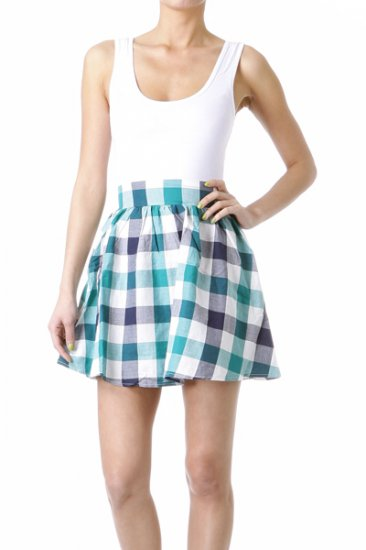 Beater 2fer  Blue Checkered Dress  Large