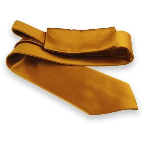 Gold Bar Solid Color Necktie and Pocket Square Set
