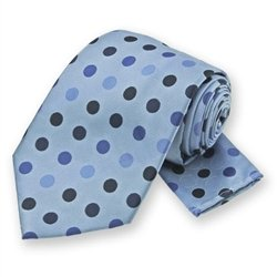 Blue Dots Tie and Pocket Square Set
