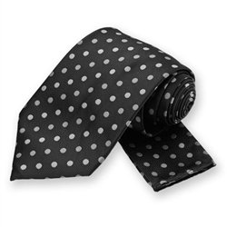 Black Polka Dotted Tie and Pocket Square Set