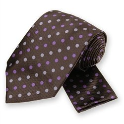 Brown Polka Dotted Tie and Pocket Square Set