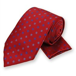 Red Polka Dotted Tie and Pocket Square Set