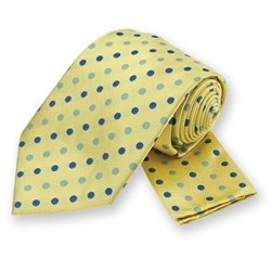 Yellow Polka Dotted Tie and Pocket Square Set