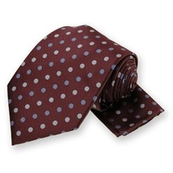 Dark Maroon Polka Dotted Tie and Pocket Square Set