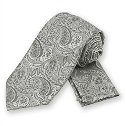 Silver Classic Paisley Tie and Pocket Square Set