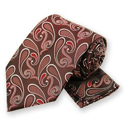 Red Modern Paisley Tie and Pocket Square Set