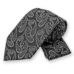 Black Modern Paisley Tie and Pocket Square Set