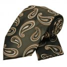 Brown Striped Paisley Tie and Pocket Square Set