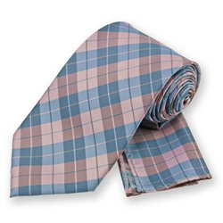 Pink Garden Plaid Tie and Pocket Square Set