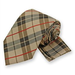 Tan Terrier Plaid Tie and Pocket Square Set