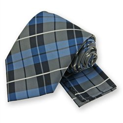 Blue Terrier Plaid Tie and Pocket Square Set