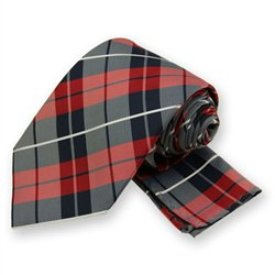 Red Terrier Plaid Tie and Pocket Square Set
