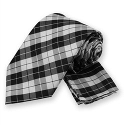 Black Garden Plaid Tie and Pocket Square Set